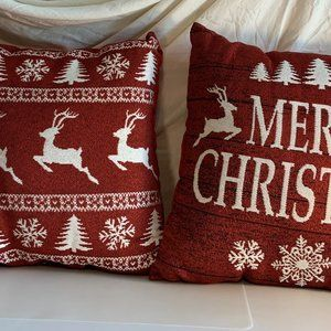 Other - Christmas Throw Pillows Red Sparkly Reindeer Set/2